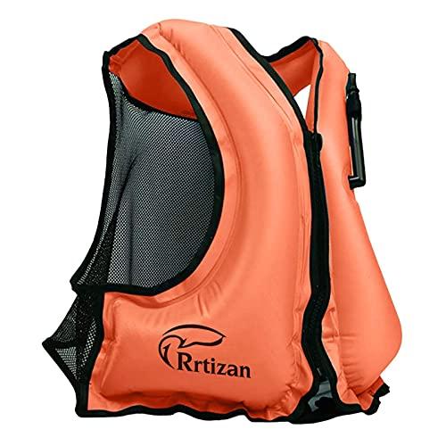 Rrtizan Chaleco de natación para adulto,Chaleco de flotabilidad para natación,inflable portátil para esnórquel de seguridad para mujeres/hombres,los mejores chaleco de natación para deportes acuáticos