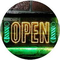 Barber Shop Open Pole Hair Cut Shop Dual Color LED看板 ネオンプレート サイン 標識 緑色 + 黄色 300 x 210mm st6s32-j0728-gy