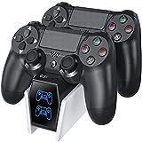 OIVO Cargador Mando ps4, Estación de Carga del Mando PS4 con Chip de Carga de 2 Horas, Base de Carga del Cargador PS4 para Playstation 4 / PS4 Slim/Pro Sony Mando, Blanco