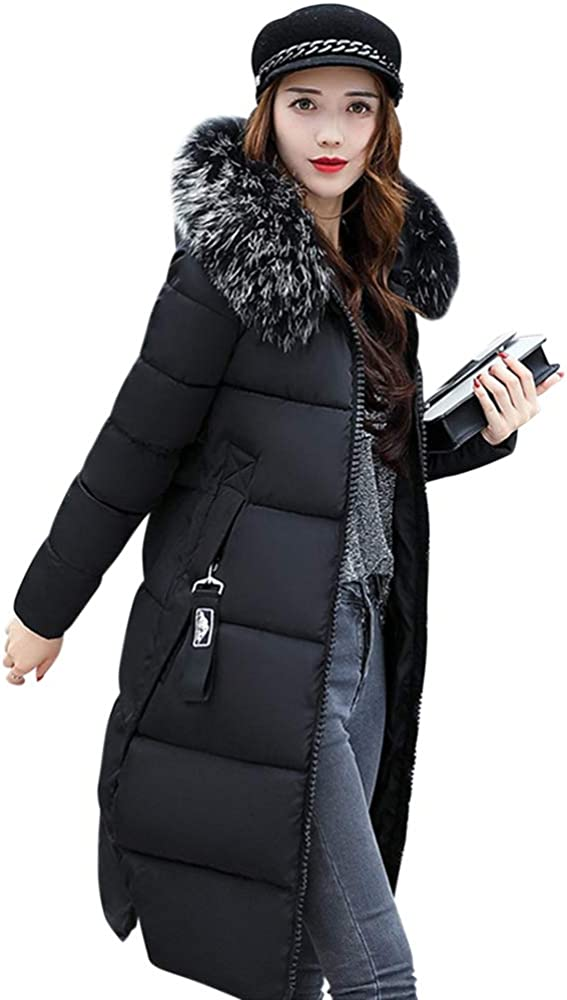 JMSUN New Women Winter Duck Down Long Coat Hoodie Thicken Coat Long Sleeve Solid Big Fur Collar Cotton Outerwear