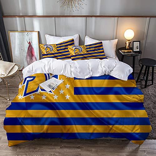 Big horn deer San Jose State Spartans American Football Team kreative amerikanische Flagge gelbe Blaue Flagge,1 Bettbezug-Set 240 * 260 +2 Set mit Kissenbezügen 50x80cm
