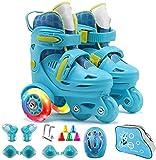 TOPNIU Patines con Ruedas: Patines Ajustables para niños Interiores y Exteriores para Proporcionar protección Completa para niños y Principiantes (Color : Blue, Size : Medium 28-32)