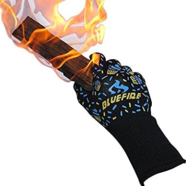 BlueFire Pro Oven Gloves, BBQ Gloves – Grilling Big Green Egg & Fireplace Accessories. Cut Resistant, Forearm Protection -100% Kevlar 932°F Heat Resistance