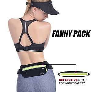 UShake Slim Running Belt, Ultra Light Bounce Free Waist Pouch Fitness Workout Belt Sport Waist Pack Exercise Waist Bag for Apple iPhone 8 X 7 6+ 5s Samsung in Running Gym Marathon Cycling(04BK)