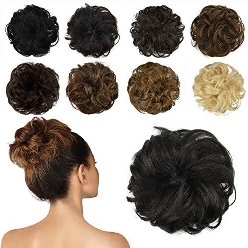 FESHFEN 100% Echthaar Haarteil Haargummi, lockige haarteile Haarknoten Haargummi Hochsteckfrisuren unordentlich dutt Haarteil Echthaar Haargummis für Damen Mädchen, Natürliches Schwarz