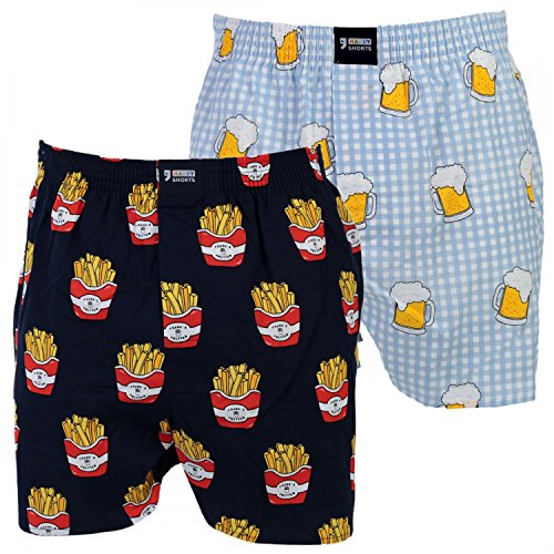 Happy Shorts 2 Webboxer Herren Boxer Motiv Boxershorts Design 12, Grösse:L - 6-52, Präzise Farbe:Design 12