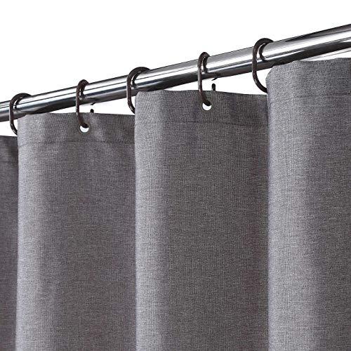 Duschvorhang, Flachs, Leinen, 240 g/m², schwer, mit Haken, waschbar, Grau, 180 x 200 cm