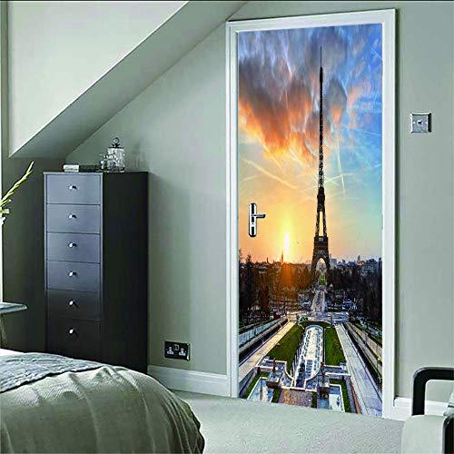Murales Para Puertas 3D Vista De La Torre Pvc Adhesivo Vinilos Puerta Pegatina Pared Murales Para Cocina Sala De Baño Decorativos