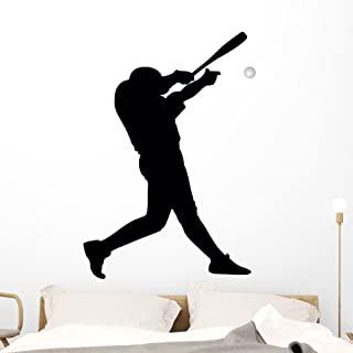 Wallmonkeys Batter Baseball Silhouette Wall Decal Peel and Stick Graphic (48 in H x 34 in W) WM239201