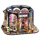 F Fityle Kit de casa de muñecas en Miniatura de Madera para Bricolaje con Muebles realistas y luz LED, Mini Libro de Madera y Tienda de café Casa de diseño 3D