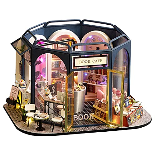 lahomia Handcraft Dollhouse Cafe Shop LED de Madera Clara Libro Y Café Rompecabezas 3D