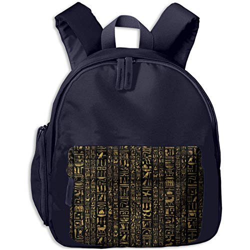 XCNGG Kids Backpack 3D Egyptian Hieroglyphs Vintage Gold Black Kindergarten Preschool Pocket Bags Rucksack Casual Daypack for Children Toddler Girls Boys Pink