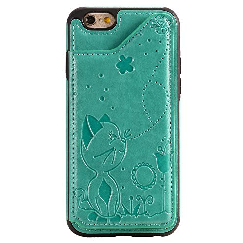 ZCXG Kompatibel Mit Schutzhülle iPhone 6 / iPhone 6S Hülle,Leder Flip Cover Katze Muster Tasche mit Kartenfach Ständer Funktion Brieftasche Silikon Handyhülle für iPhone 6 / iPhone 6S - Grün