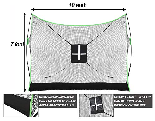 Golf Net Bundle 4pc - Comprising of Professional Patent Pending Golf Net, Dual-Turf Golf Mat, Chipping Target & Carry Bag - The Right Choice of Golf Nets for Backyard Driving & Golf Hitting Nets