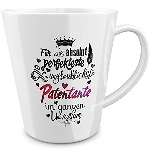 FunTasstic Tasse Für die absolut perfekteste Patentante - konische Kaffeepott 300 ml
