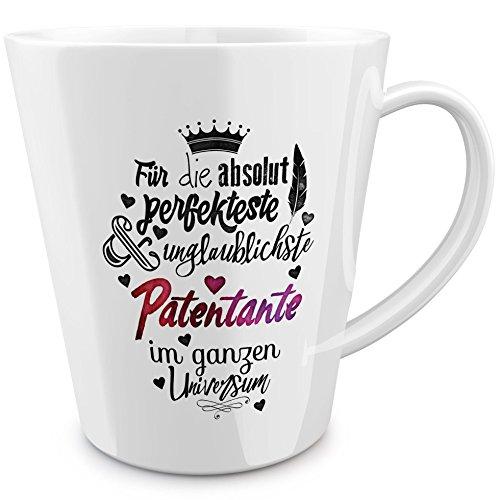 FunTasstic Tasse Für die absolut perfekteste Patentante - konische Kaffeepott 300 ml 100% handmade in Deutschland - zum Tee, Kaffee, als Geschenkidee mit Spruch, witzig, Küche Deko