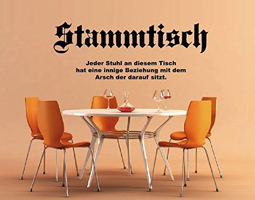 DD Dotzler Design Stammtisch bayrisch Hobbyraum - Jeder Stuhl an diesem Tisch - 117 x 38 cm Wandtattoo Wallsticker Aufkleber Spruch Zitat