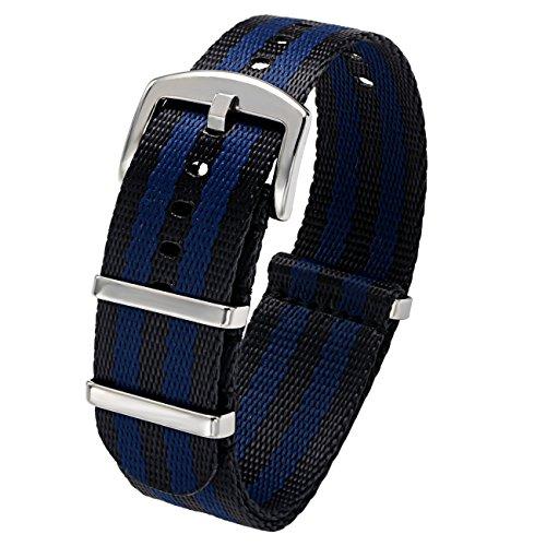 PBCODE Seat Belt Nylon Straps 22mm Black Blue Bonds watch band Heavy Duty Polished Buckle