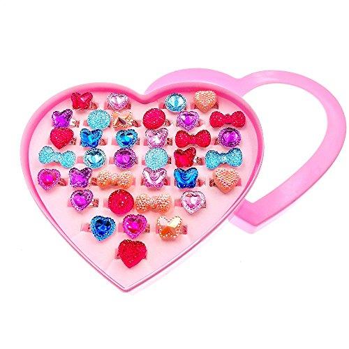 JZK 36 Anillo de Dedo tamaño Ajustable niños joyería Juguete con Caja para niños Adulto cumpleaños Fiesta Regalo Bolsas Fiesta Regalo