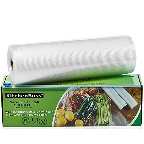 KitchenBoss Sacchetti Sottovuoto per Alimenti,1 Pezzi da 28x1500 cm, (Non più forbici) Rotoli Sacchetti goffrati,per Conservazione Alimenti e Cottura Sous Vide