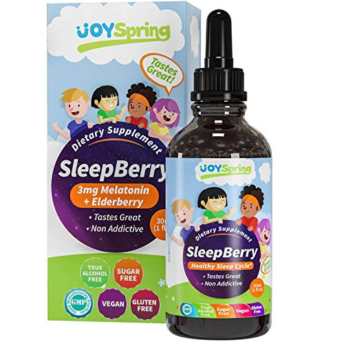 SleepBerry Liquid Melatonin for Kids  Natural Sleep Aid with Elderberry and Vitamin D  Helps Them Sleep Soundly Boost Immune System and Wake Up Refreshed