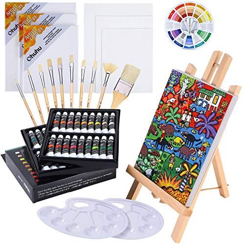 Ohuhu Juego de Pintura al óleo, 56 Piezas con Caballete de Mesa, Tubos de Pintura al óleo de 12 ml x 36, Pinceles de Pintura artística con cerdas, Lienzo para Principiantes y Artistas