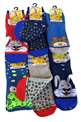 Lucchetti Socks Milano calze antiscivolo bambino/a 6 PAIA spugna di cotone abs made in europe dal 23 al 38 (23-26, Maschio)