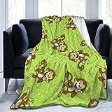 AUISS Plush Throw Velvet Blanket Monkeys in Green Fluffy Fleece Carpet Living Room Bedspreads for Kids Soft Sleep Mat Pad Flannel Cover for Summer