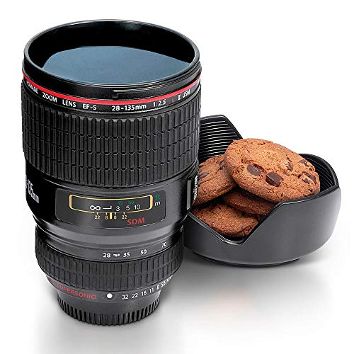 Monsterzeug Kaffeebecher Kameraobjektiv, Originelle Kaffeetasse Objektiv, Kamera Linse Becher mit Deckel, Fotografen Geschenk, Coffee Mug 450 ml