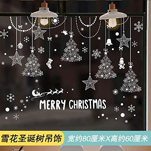 Pegatinas De Pared De Navidad, Pegatinas, Vitrinas, Puertas Y Ventanas De Vidrio Decorado, Copo De Nieve Árbol De Navidad Colgante, Lar