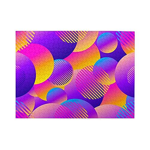 Rompecabezas de 500 piezas,círculos futuristas,fondo retro con estilo,ilustración retro de los años 80,juego de rompecabezas para familias numerosas,ilustraciones para adultos y adolescentes