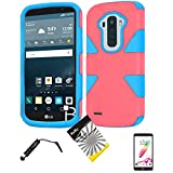 for LG G Stylo LS770 / LG Stylus H631 / ITUFFY 3items Combo: Mini Stylus Pen + LCD Screen Protector Film + Protector Hard Plastic + Soft Rubber TPU Skin Dual Layer Tough Hybrid Case (Light Pink/Blue) -  Snaponcase