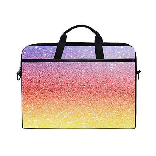 GIGIJY Rainbow Sequins Laptop Case Bag Canvas Briefcase 13 in 13.3 in 14 in 15 in for Kids Boys Girls Women Men