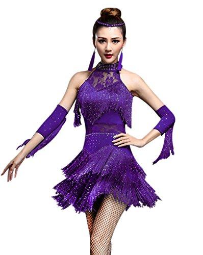 ZX Damen rhinestone-troddel flapper latin rumba tanz-kleid 4 stück outfits Lila Tag M, Fit 2-4
