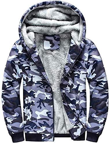 Sudadera con capucha para hombre de forro polar con cremallera para otoño e invierno camuflaje sudadera bombardero chaqueta de béisbol