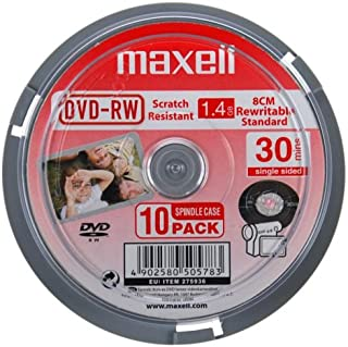 Maxell DVD-RWVCAM30 10SP maxell dvd-rwvcam30 10sp 8cm dvd-rw30 vcam x 10 Pack in Spindle Pack