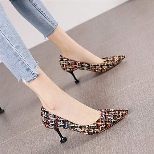 HRCxue zapatos de la Corte Moda Puntiaguda Retro Solo zapatos de Tacones de Aguja de Personalidad Femenina, 35, oro negro