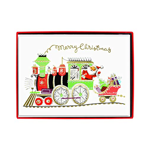 """Graphique Santa Train Classic Boxed Cards - Set of 15 Cards with Envelopes and Decorated Storage Box – Whimsical Holiday Scene with Copper Foil & White Glitter Accents – Cards Measure 4.75' x 6.625"""""""
