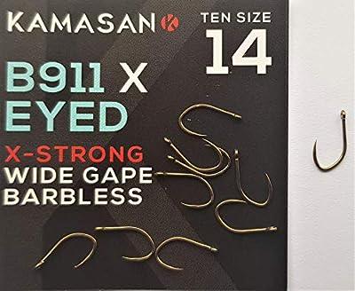 Kamasan Fishing Hooks B911x Extra Strong B911 Barbless Eyed Carp Coarse Size 14