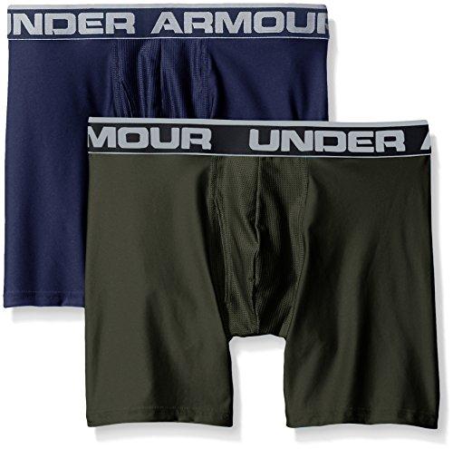 "Under Armour Men's Original Series 6"" Boxerjock, Midnight Navy/Artillery Green, Medium, Pack of 2"