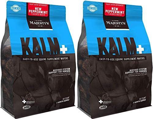 Majesty's 2 Pack of Peppermint Kalm+ Equine Supplement Wafers, 2 Month Supply Each, Calming Supplement for Horses, Made in The USA