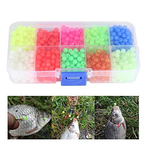 Meiyya Glow Fishing Beads, 1000pcs/Box Cuentas Redondas de plástico Aparejos de Pesca Señuelos Herramientas Accesorios Aparejos de Flotador para Pesca al Aire Libre