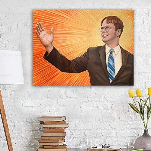jongya Modern King Dwight Schrute Canvas Painting Leader Dwight Portrait Poster Wall Art Decor 50X70cm No Frame