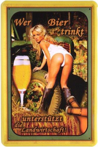 Blechschild Wer Bier trinkt. 20 x 30cm Reklame Retro Blech 310