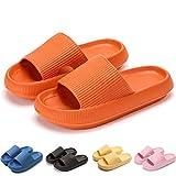 MOLATIN Pillow Slides Slippers, Massage Pool Foam Bathroom Non-Slip Quick Drying Slipper for Womens/Mens,Super Soft Thick Sole Indoor Home Spa Open Toe Sandals EVA Platform (Orange, 8.5)