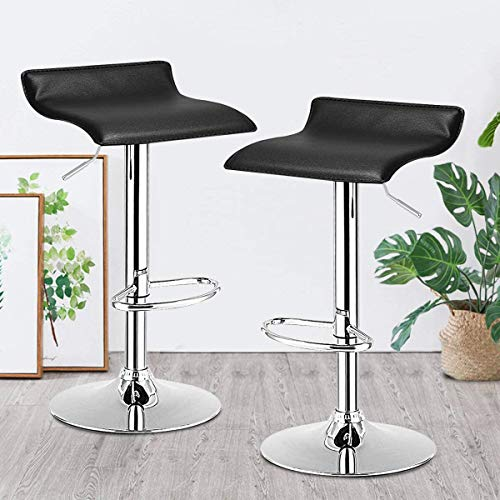 Bar Stool, GentleShower Set of 2 PU Leather Backless Swivel Bar Chair Adjustable Height Barstools with Footrest for Kitchen, Home, Bars, Pubs etc Black
