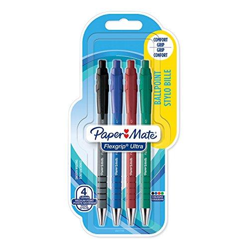 Papermate Sanford, FlexGrip Ultra, Penna a Sfera Retrattile, Confezione da 4, Colori Assortiti
