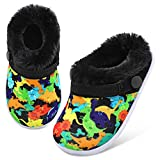 Boys Girls Cute Cartoon Slippers with Adjustable Strap Furry House Shoes Dinosaur 18-24 Months