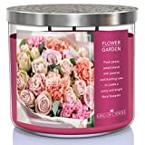 King of Candle - Flower Garden | Large 3 Wick Highly Scented Floral Candle | USA Made | 14 oz Soy Wax + Decorative Snuffer Lid | Rose Peony Jasmine Bouquet | Gifts for Women Mom Grandma Sister