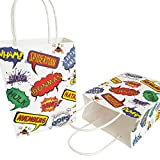 8.2×5.9×3.1 inche (16 pcs),Gift Paper Bag for Kids Birthday and Superhero Theme Party,Small White Kraft Paper Bag with Handles Bulk